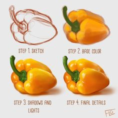 Artist Creates Illustrations to Show How Taking Your Time to Perfect Your Craft is Worth It - Digital artist Floortjes shares drawing tutorials on how to create hyper-realistic digital painting - Digital Art Tutorial, Digital Painting Tutorials, Painting Tips, Art Tutorials, Drawing Tutorials, Digital Paintings, Painting Process, Fruit Painting, Matte Painting