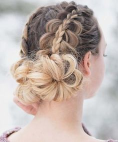 Great Double Braided Floral Updo Hairstyles for Teenage Girls