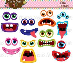 40% Off Monster faces Clip Art Instant by CreativeDreamsArts