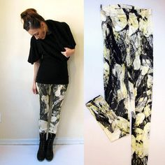 Black and yellow abstract print leggings / by SimonesRoseBoutique, $52.00