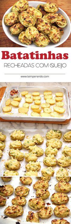 MINI BATATINHA RECHEADA ASSADA -- Essas mini batatinhas recheadas e assadas são perfeitas para servir como petisco ou…
