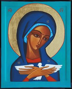 Theotokos contemporary icon by Alicja Antonina Tuz Blessed Mother Mary, Blessed Virgin Mary, Religious Icons, Religious Art, I Love You Mother, Images Of Mary, Queen Of Heaven, Art Thou, Holy Mary