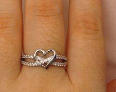 Artículos similares a Joyería de plata esterlina amor anillo anillo de plata corazón, San Valentín en Etsy