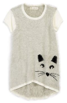 Free shipping and returns on Tucker + Tate 'Mika' Intarsia Kitty Face Sweater Tunic (Toddler Girls, Little Girls & Big Girls) at Nordstrom.com. A sweet intarsia kitty face with a heart-shaped nose accents the high/low hem of an oh-so-fuzzy sweater tunic that's wonderfully soft to the touch.