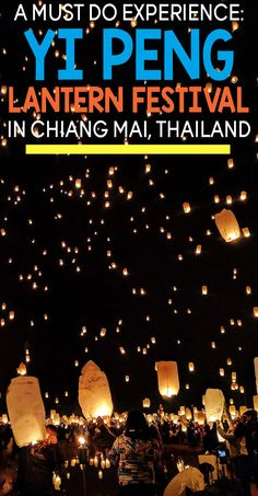 If you plan on visiting Thailand you should you plan your trip around this amazing festival in Chiang Mai! It's a magical experience as the Yi Peng Lantern Festival lights up the sky. Click to find out details! #thailand #asia ***************************************** Thailand travel | Asia travel | Southeast Asia travel | Thailand festival of lights | Thailand festival | Yi Peng lantern | Things to do in Chiang Mai | Things to do in Thailand | Chiang Mai festival
