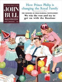 Illustration by Stan Coleman for the cover of John Bull magazine, January 1959. #vintage #1950s #birthday #magazines