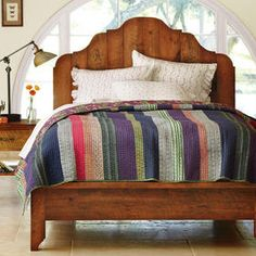 Antiqued Pine Provence Bed Internet Retail Exclusive Shapely scallops refine the ruggedness of this bed handcrafted in vintage pine reclaimed from floor joists of early century Midwest barns. Home Bedroom, Bedroom Decor, Bedrooms, Master Bedroom, Provence, Reclaimed Wood Beds, Pine Beds, Welcome To My House, Cool Beds