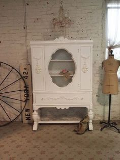 Painted Cottage Chic Shabby White Romantic French China Cabinet AM39 Wish I could afford this!