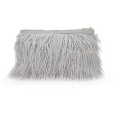 Grey Faux Fur Clutch ($31) ❤ liked on Polyvore featuring bags, handbags, clutches, grey clutches, gray purse, faux fur purse, grey handbags and long strap purse