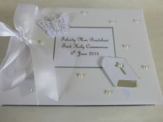 Christening Guest Book First Holy Communion Naming Day White Silver Personalised