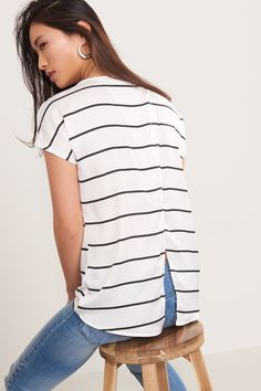 Stripe things up. Mixed Fabric Tee with Open Back New Outfits, Fashion Outfits, Leather Mini Skirts, Women Wear, Clothes For Women, My Style, Tees, Casual, Fabric