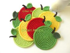 Apples Crochet Coasters . Gifts for Teacher Kitchen Back to School Drink Vegan Decor Crochet Fruit Set of 8 Made to order