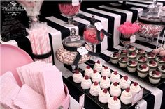 black and white striped tablecloth | ... aray of pink & white sweets and black ribbons tied around their necks
