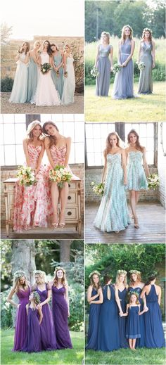 mismatched bridesmaids gowns for wedding / http://www.deerpearlflowers.com/mix-n-match-bridesmaid-dresses/2/