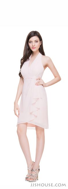 This Sheath Halter Knee-Length Chiffon Dress actually is not only for  cocktail party, but also for wedding party and many other events. It is really worth buying. #JJsHouse