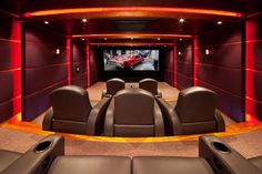 Basement Movie Room, Movie Theater, Theatre, Home Theater Design, Cinema Room, Entertainment Room, Decorating Your Home, Car Seats, Ideas