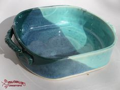 Squared Casserole Dish  Teal and Bright Blue by MudbugCreations, $28.00