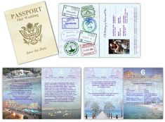 Passport Save the Date Passport - Custom Passport Invitations Passport Template, Passport Card, Passport Wedding Invitations, Wedding Invitation Templates, Coffee Engagement Photos, Save The Date Maps, Invitation Text, Invite, Inexpensive Wedding Venues