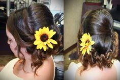 Love this soft classic bridal look. Finished with sunflower to match her wedding decor!