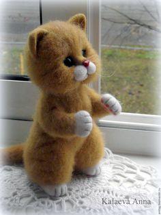 Купить Рыжий котенок - рыжий, кот, котик, котенок из шерсти, котенок игрушка, котенок валяный
