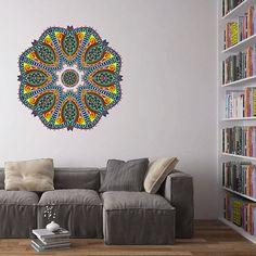 kcik136 Full Color Wall decal mandala ornament Indian living room bedroom