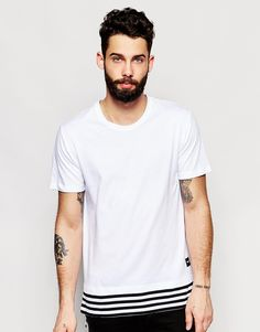 Image 1 ofOnly & Sons Longline T-Shirt with Stripe Hem