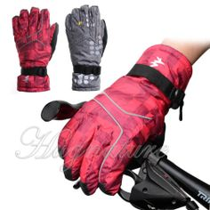 1Pair 3D Draping Techniques 360degrees Warm Waterproof Skiing Gloves for Women