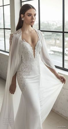 vino 2019 romanzo bridal sleeveless deep plunging sweetheart neckline heavily embellished bodice romantic fit and flare wedding dress with cape low v back chapel train zv -- Romanzo by Julie Vino 2019 Wedding Dresses Wedding Cape, Bridal Cape, Dream Wedding Dresses, Bridal Dresses, Wedding Dresses With Cape, Wedding Gowns, Formal Dresses, Fit And Flare Wedding Dress, Beautiful Gowns