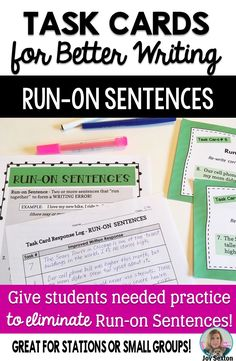 Give students helpful targeted practice with eliminating run-on sentences! These vibrant task cards are great for stations or small groups!