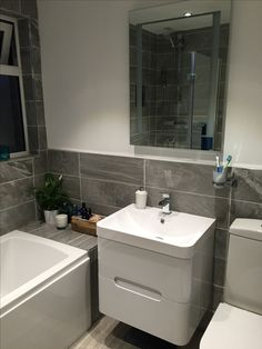41 Ideas bathroom shower tile design tubs products for 2019 Grey Bathroom Tiles, Bathroom Vanity Units, Wall Hung Vanity, Grey Tiles, Bathroom Layout, Bathroom Storage, Vanity Drawers, White Tiles, Storage Drawers
