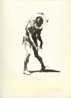 spaceman, Frank Frazetta. Such great use of shape in the figure to tell story.