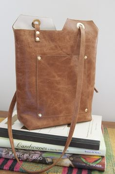 Leather Minimalist Tote Bag || it's not a backpack, but I want to make this with backpack straps.