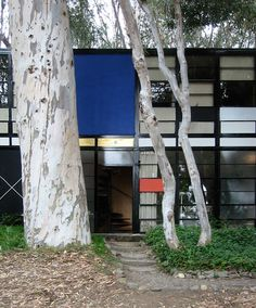 The Eames House (also known as Case Study House No. 8) is a landmark of mid-20th century modern architecture located at 203 North Chautauqua Boulevard in the Pacific Palisades neighborhood of Los Angeles. It was constructed in 1949 by husband-and-wife design pioneers Charles and Ray Eames, to serve as their home and studio.