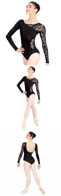 Leotards and Unitards 152354: Adult Long Sleeve Leotard With Lace Sleeve And Insertn8650 Black Medium -> BUY IT NOW ONLY: $41.89 on eBay!