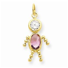 Yellow Gold and Alexandrite Boy Charm