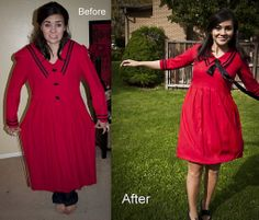 I really NEED to learn how to be better at sewing!! So I can refashion things! I really like this red dress!  Miss Refashionista