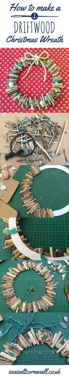How to make a nautical Christmas wreath out of driftwood by the Seasalt Cornwall window team. Read full instructions at: https://www.seasaltcornwall.co.uk/blog/12/2014/how-to-make-a-driftwood-wreath/