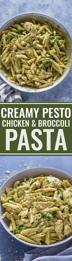 Easy Pesto Chicken and Broccoli Pasta - Recipes, tips and everything related to cooking for any level of chef. Yummy Pasta Recipes, Chicken Recipes, Dinner Recipes, Cooking Recipes, Yummy Food, Cooking Pasta, Easy Pesto Recipe, Creamy Pasta Recipes, Cooking Broccoli