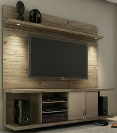 Pallet TV wall entertainment center