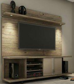 Pallet TV wall entertainment center