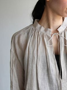 String gather blouse/ Tapered pants 1