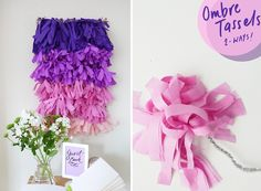 Ombre Tassels (tissue paper or fabric) fun wall hanging for a party