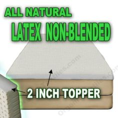 All Natural Latex Non Blended Mattress Topper with Preferred Medium Firmness 2 inch thick - KING by Organictextiles. $299.95. Sizes: Twin - 38x75, Twin XL - 38x80, Full - 53x75, Queen - 60x80, King - 76x80, Cal King - 72x84. All natural latex topper with medium firmness (22-28 ILD) 2 Inch thick. All natural latex toppers made from eco-harvested rubber tree with medium firmness 2 Inch thick. Our best seller.. Adds a layer of comfort and support with purity associated with organic...