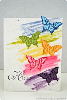 Butterfly week continues with the focus on the the Papillion Potpourri stamp set! Today I am sharing a rainbow card that was brought to li. Hand Made Greeting Cards, Making Greeting Cards, Greeting Cards Handmade, Card Making Inspiration, Making Ideas, Rainbow Card, Beautiful Handmade Cards, Get Well Cards, Butterfly Cards
