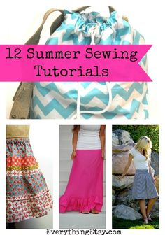 12 Simple Sewing Tutorials for Summer...I love easy projects like these! #diy #sewing