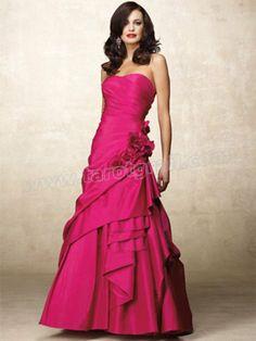 Modern A-line Strapless Hand-Made Flower Sleeveless Floor-length Taffeta Dress