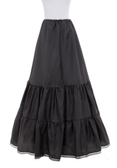 wide floor lenght cotton skirt with lace trim <3