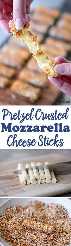 These Pretzel Crusted Mozzarella Cheese Sticks can be made ahead of time and kept in the freezer until ready to bake. Warm, melted, gooey cheese covered with crunchy, salty pretzels! The combination i (Cheese Snacks Mozzarella Sticks) Finger Food Appetizers, Appetizer Dips, Yummy Appetizers, Appetizer Recipes, Snack Recipes, Cooking Recipes, Dip Recipes, Mozzarella Cheese Sticks, Cheese Snacks