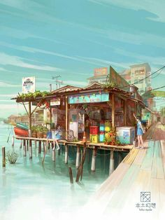 Illustration for a project base on Chew Jetty of Penang Malaysia Environment Concept Art, Environment Design, Art Anime, Manga Art, Illustration Fantasy, Art Illustrations, Drawn Art, Anime Scenery, Environmental Art
