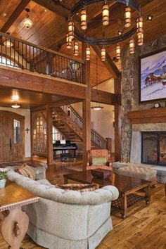 Beams, Wood, Stone, open stairway with Balcony. Fireplace, awesome lighting! Home Interiors: Black Diamond Ranch